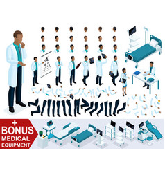 isometric doctor african american create surgeon vector image