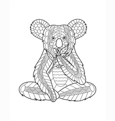 koala doodling coloring book with sprig vector image