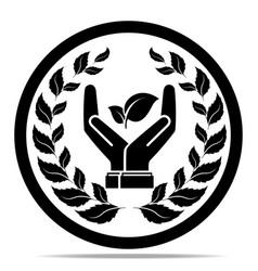 leaf in hand logo vector image