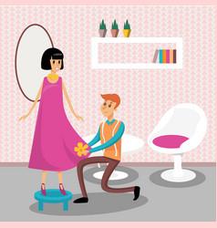 male dressmaker serving his client vector image