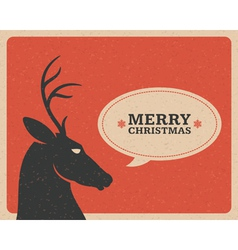 Merry Christmas postcard with deer vector