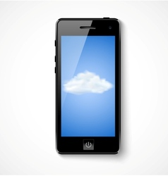 Mobile phone with cloud icon vector image