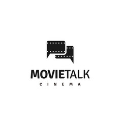 movie chat logo negative films with bubble chat vector image