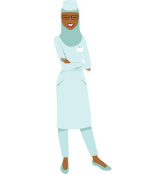 muslim doctor wearing hijab vector image