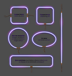 Neon frame set vector