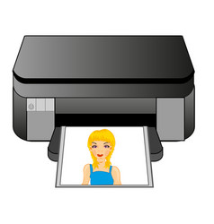 Office equipment colour printer vector