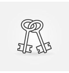 Old keys outline icon vector