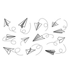 paper plane hand drawn doodle airplane with route vector image