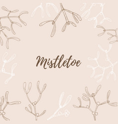 pattern with hand drawn mistletoe twigs vector image