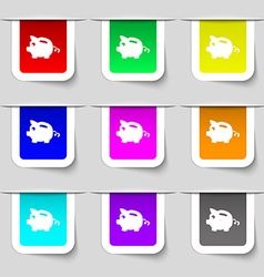 Piggy bank icon sign Set of multicolored modern vector