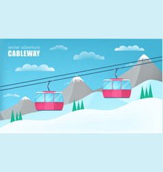 pink cable cars moving above the ground against vector image