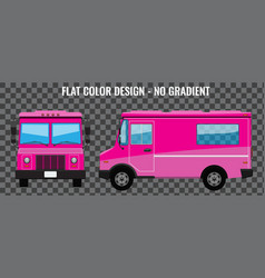 Pink food truck hi-detailed with solid and flat vector