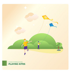 playing kites vector image
