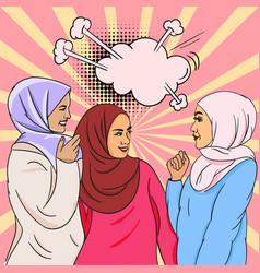 Pop-art image three beautiful young islamic vector