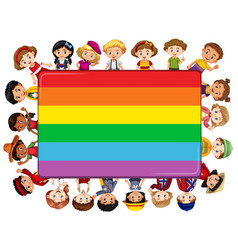 rainbow board with many kids in background vector image vector image