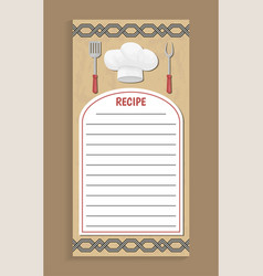 Recipe cook book page notebook vector