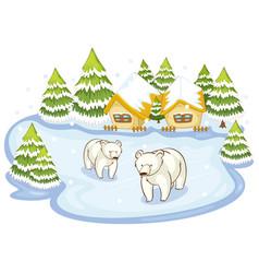 Scene with polar bears on snow ground vector