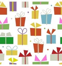 Seamless pattern design with gift boxes vector image