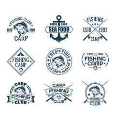 set isolated icons with fish for fisherman club vector image