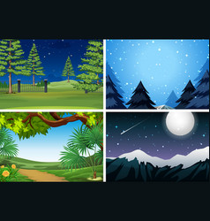 set of nature scene at night vector image