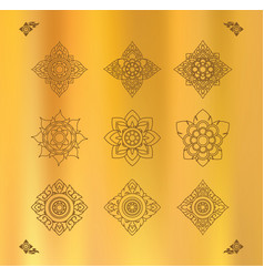 set thai art design on gold cloth vector image