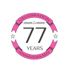 seventy seven years anniversary celebration logo vector image