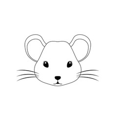 Silhouette head cute mouse with white vector
