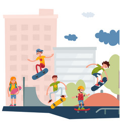 Skateboarder active people park sport extreme vector