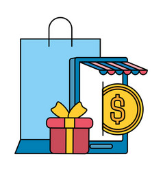 smarphone with shopping bag and gift vector image
