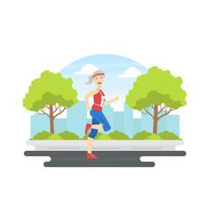sportive senior woman running in summer park vector image