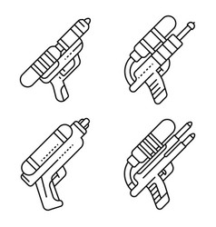 squirt gun icons set outline style vector image