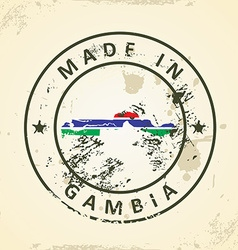 Stamp with map flag of Gambia vector