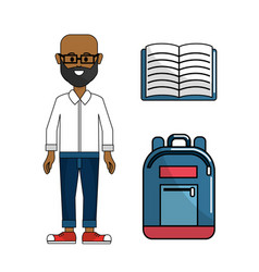 Teacher with notebook and backpack tool vector