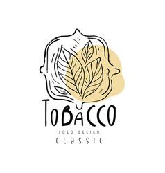 Tobacco classcic logo design emblem with tobacco vector