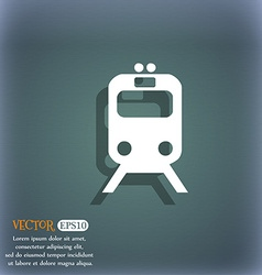 train icon symbol on the blue-green abstract vector image