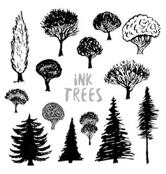 trees silhouette inked hand drawn isolated set vector image