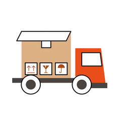 Truck delivery with box service icon vector