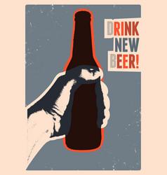 Typographic vintage grunge style beer poster vector