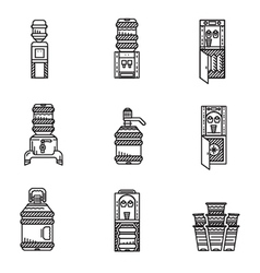 Water cooler black line icons set vector image