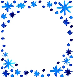 Watercolor beautiful blue snowflakes background vector