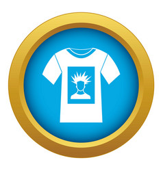 White shirt with print man portrait icon blue vector