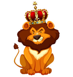 Wild lion wearing crown vector