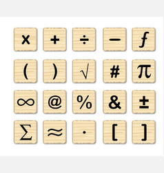 Wooden math symbols vector