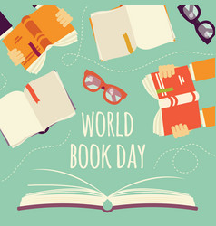 world book day open book with hands holding books vector image
