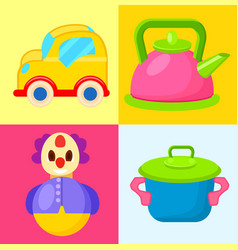 yellow car pink pot blue pot and tumbler toys vector image