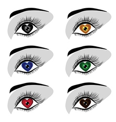 eye heart set vector image vector image