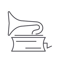 gramophone line icon sign on vector image