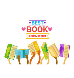 Group of hands holding books reading banner vector