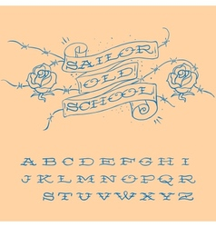 Old-school styled tattoo alphabet set vector image