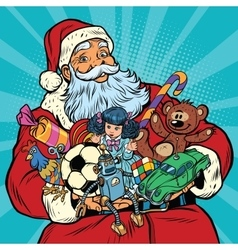Santa Claus with gifts rooster year vector image